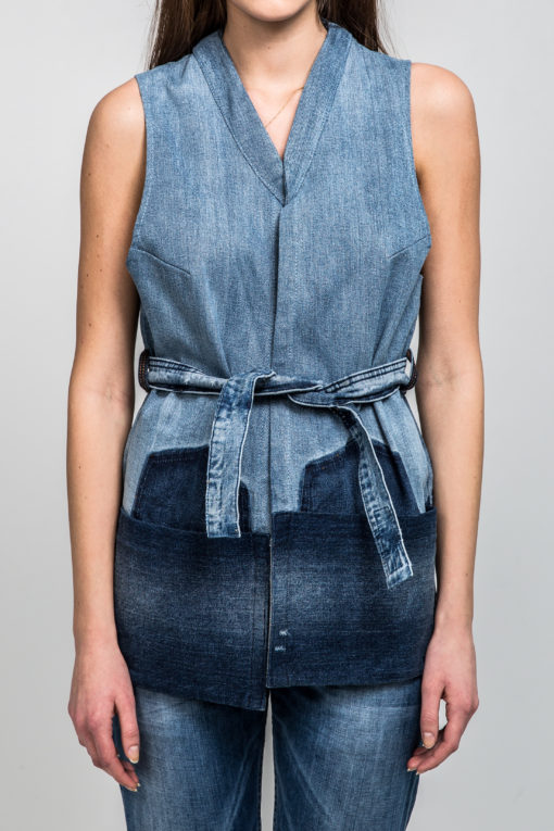 Gracious Sky remade denim vest front